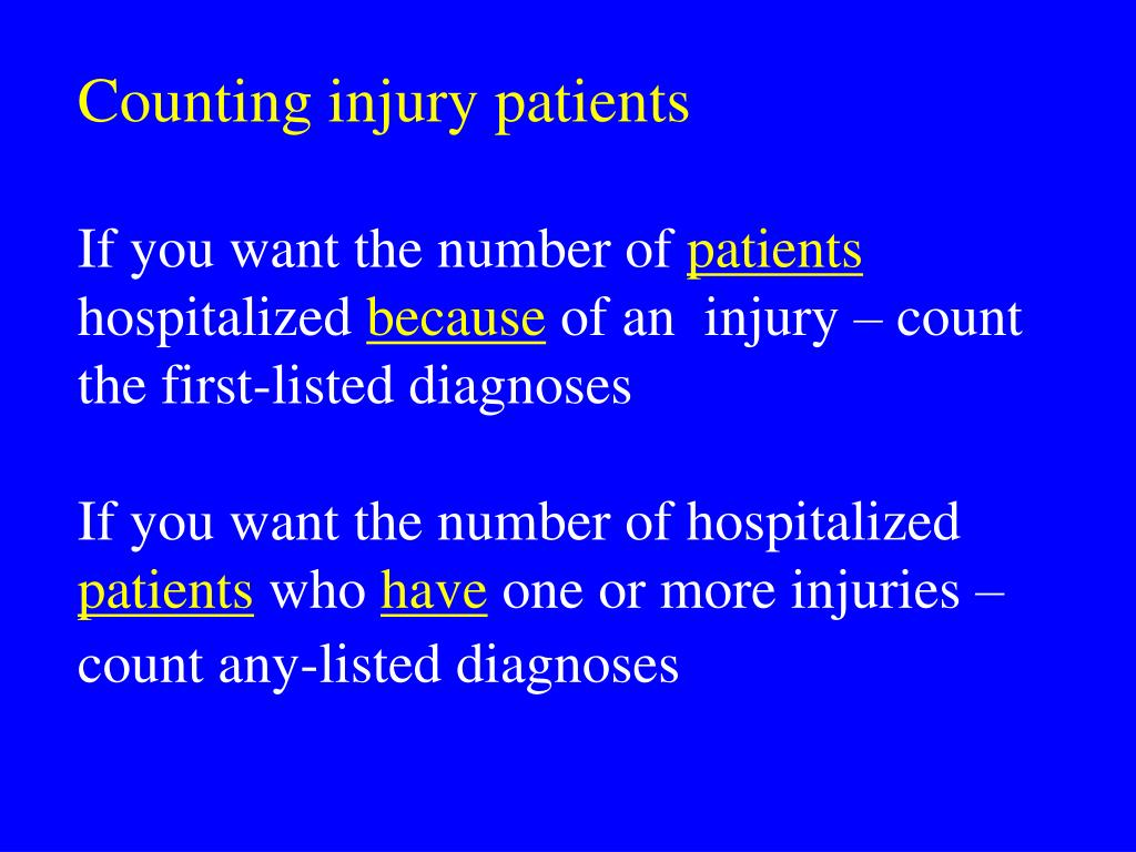 Counting injury patients