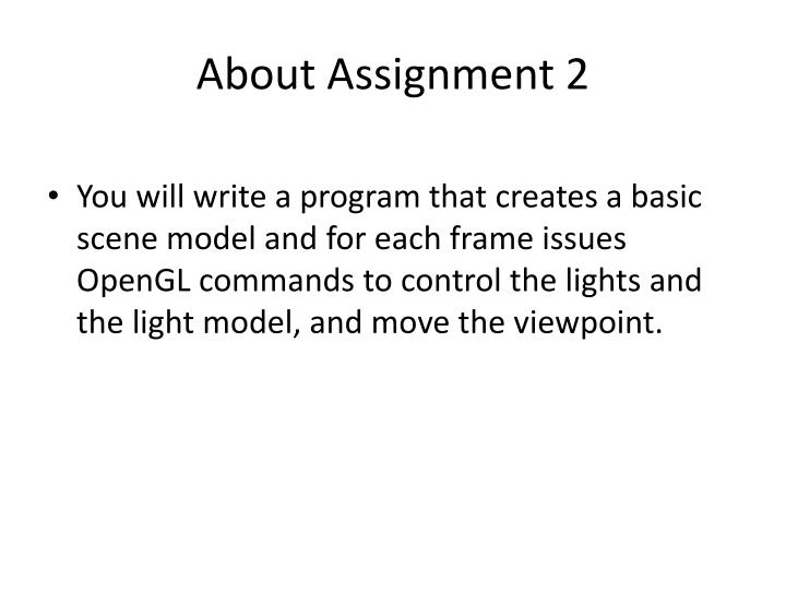 About assignment 2