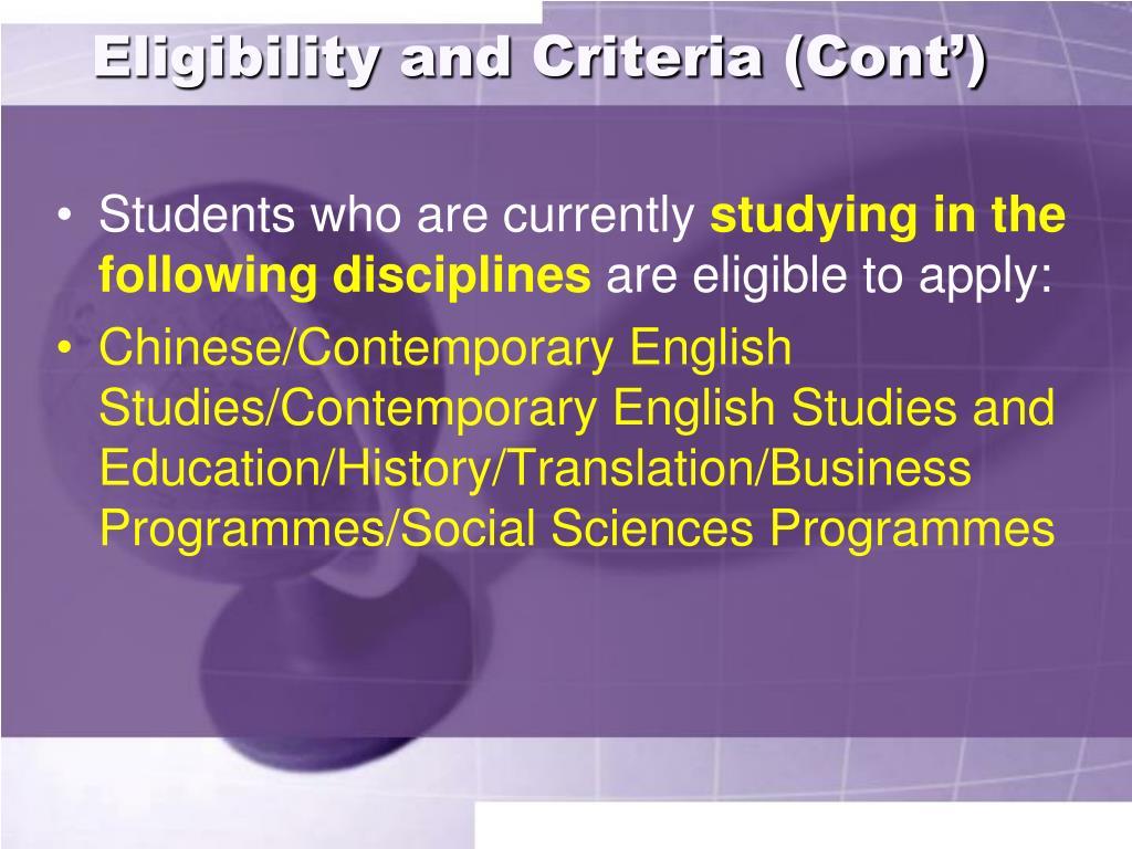 Eligibility and Criteria (Cont')
