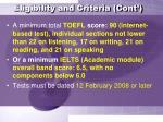 eligibility and criteria cont8