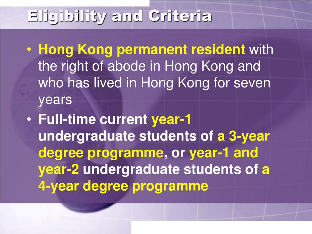 Eligibility and Criteria