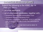selection process cont