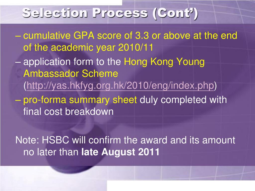 Selection Process (Cont')