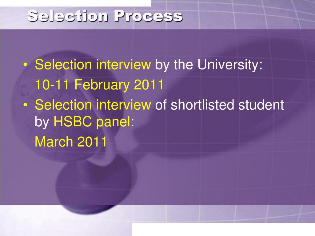 Selection Process
