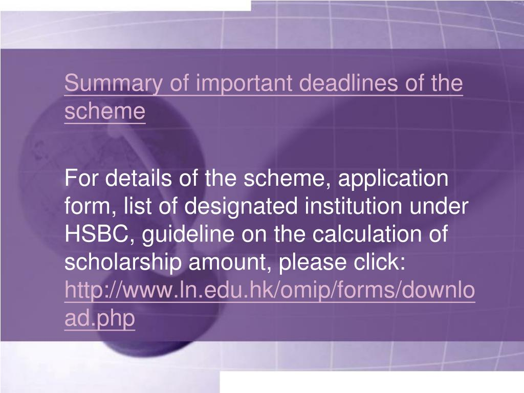 Summary of important deadlines of the scheme