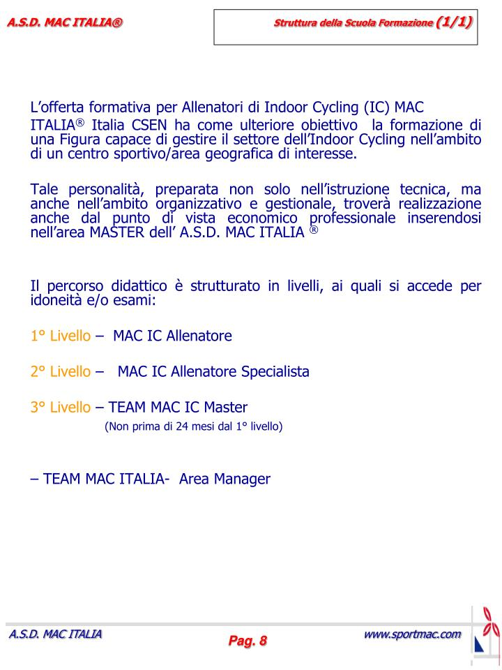L'offerta formativa per Allenatori di Indoor Cycling (IC) MAC