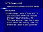 3 tv commercial cognitive processing integrate apply review concepts