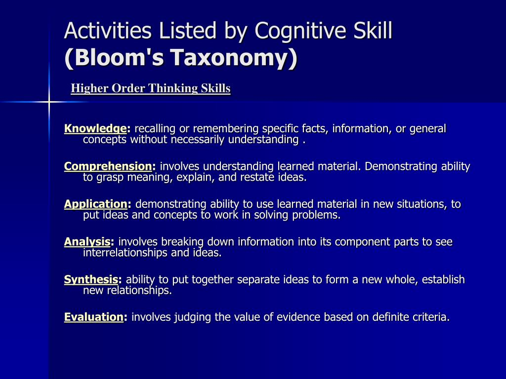 Activities Listed by Cognitive Skill