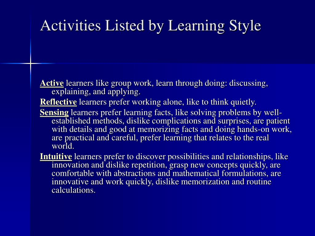 Activities Listed by Learning Style
