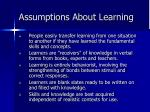 assumptions about learning43