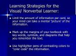 learning strategies for the visual nonverbal learner