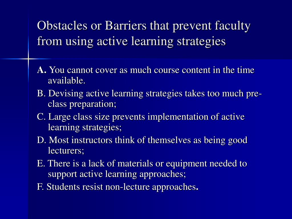 Obstacles or Barriers that prevent faculty from