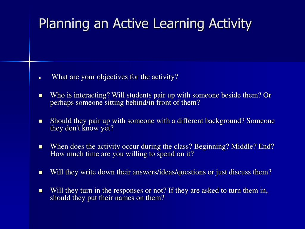 Planning an Active Learning Activity