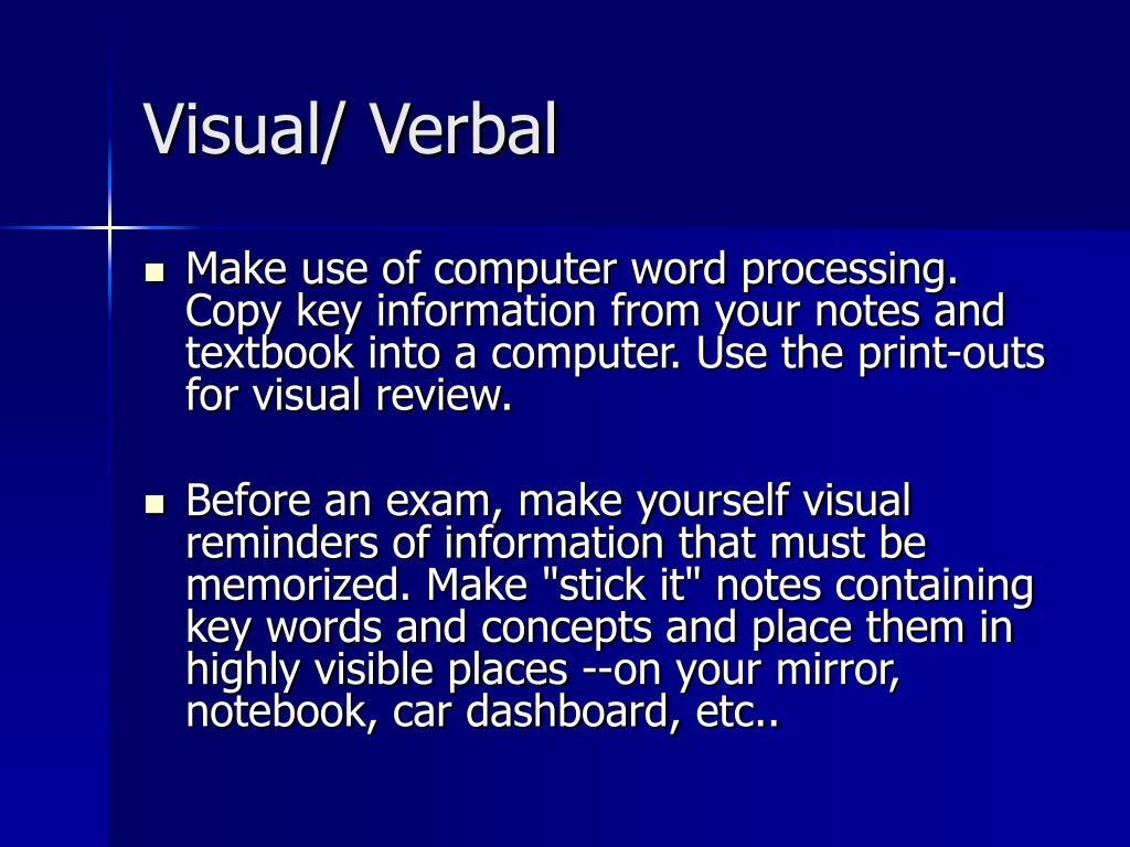 Visual/ Verbal