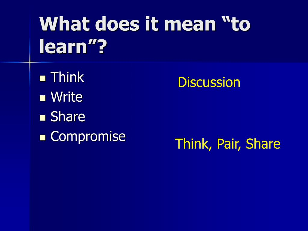 "What does it mean ""to learn""?"