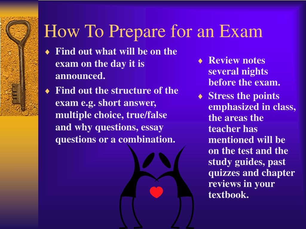 Find out what will be on the exam on the day it is announced.