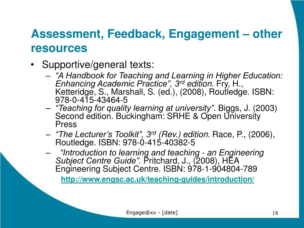 Assessment, Feedback, Engagement – other resources