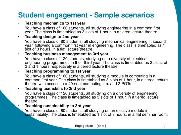 Student engagement sample scenarios