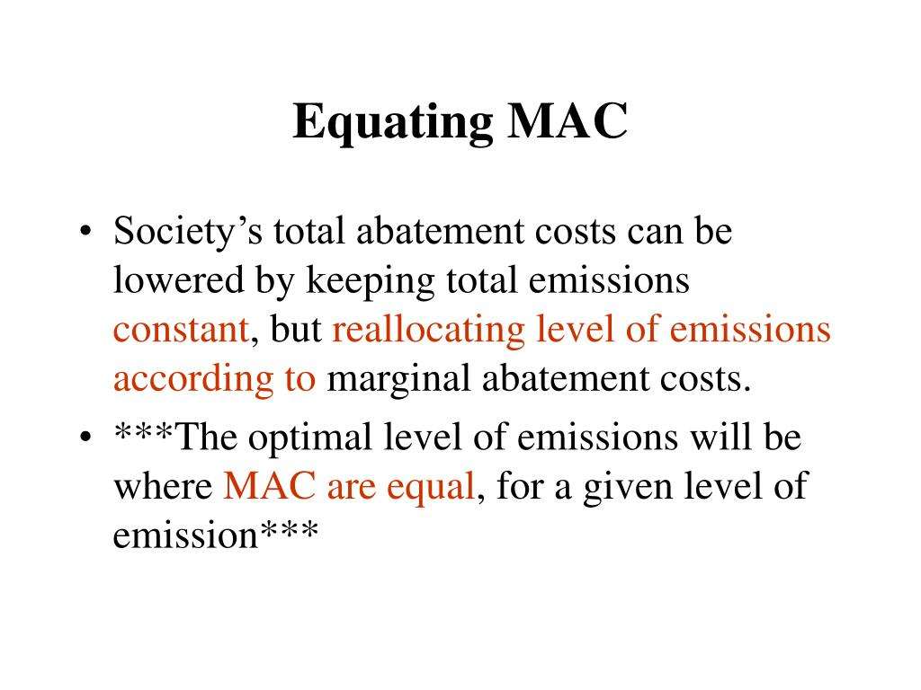 Equating MAC