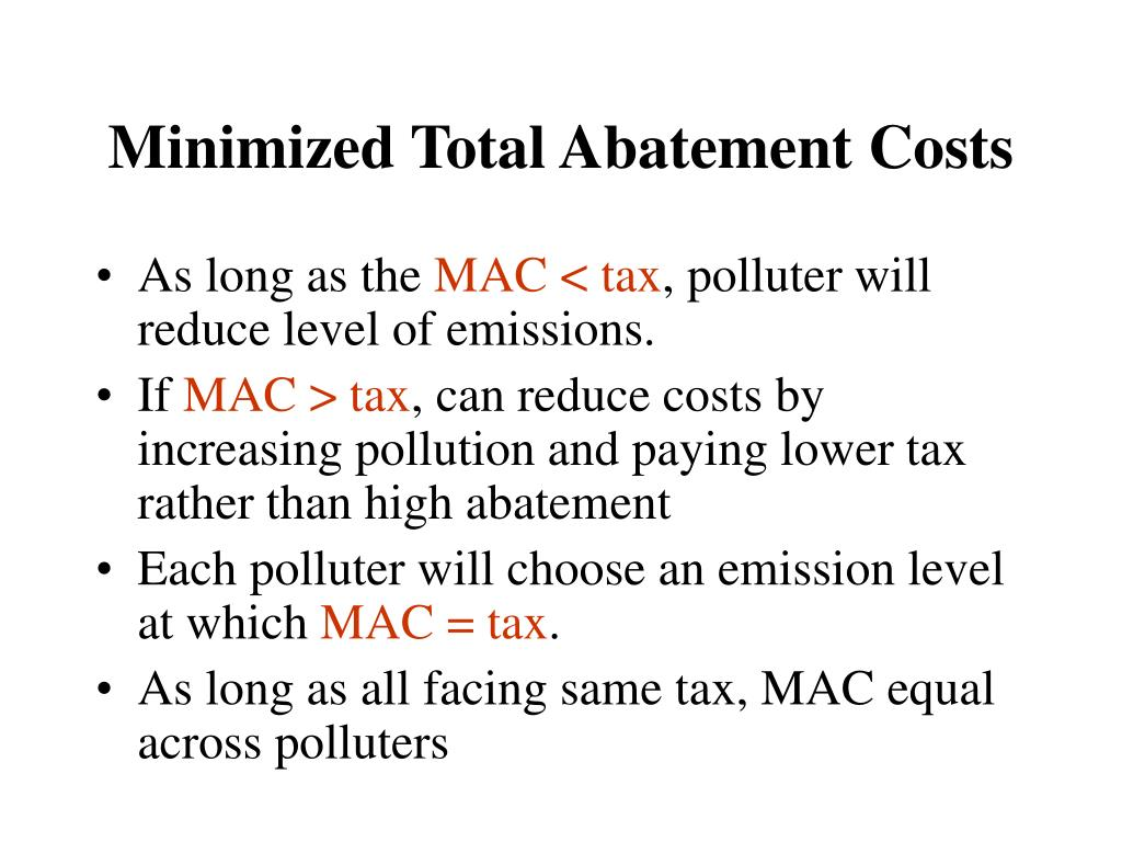 Minimized Total Abatement Costs