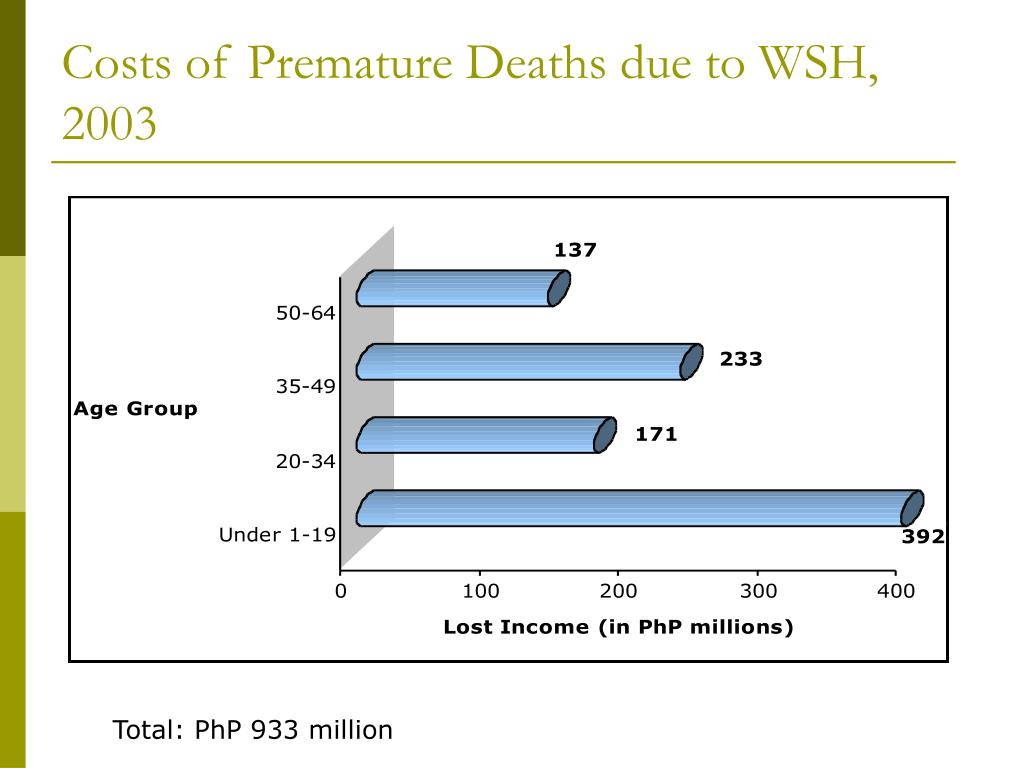 Costs of Premature Deaths due to WSH, 2003