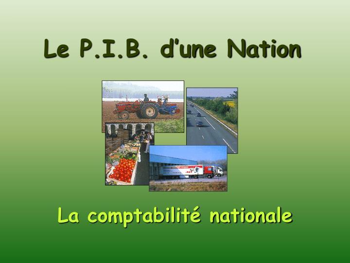 Le P.I.B. d'une Nation