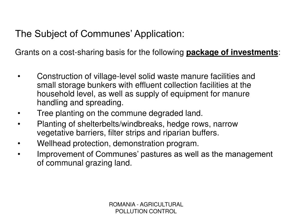 The Subject of Communes' Application:
