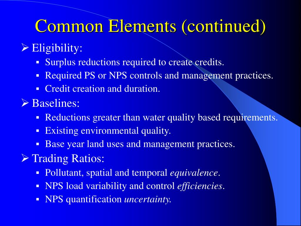 Common Elements (continued)