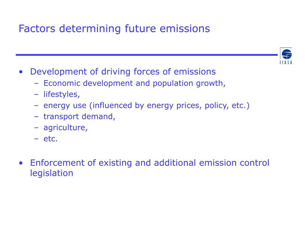 Factors determining future emissions