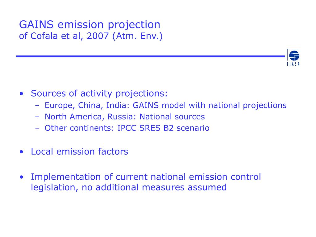 GAINS emission projection