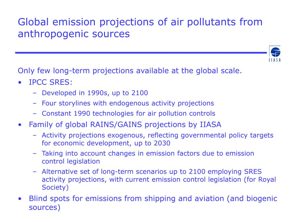 Global emission projections of air pollutants from anthropogenic sources