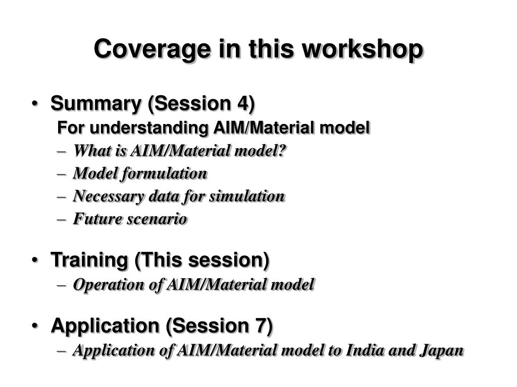 Coverage in this workshop