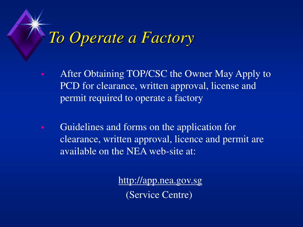To Operate a Factory