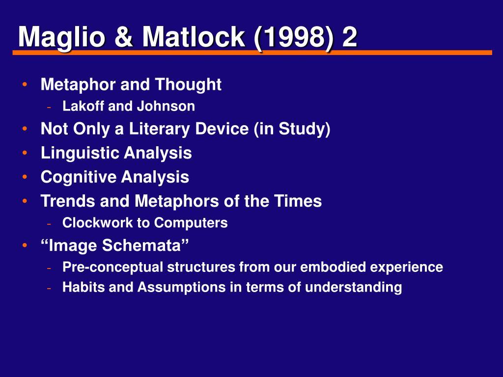 Maglio & Matlock (1998) 2
