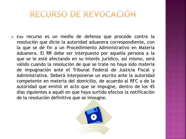 RECURSO DE REVOCACIÓN