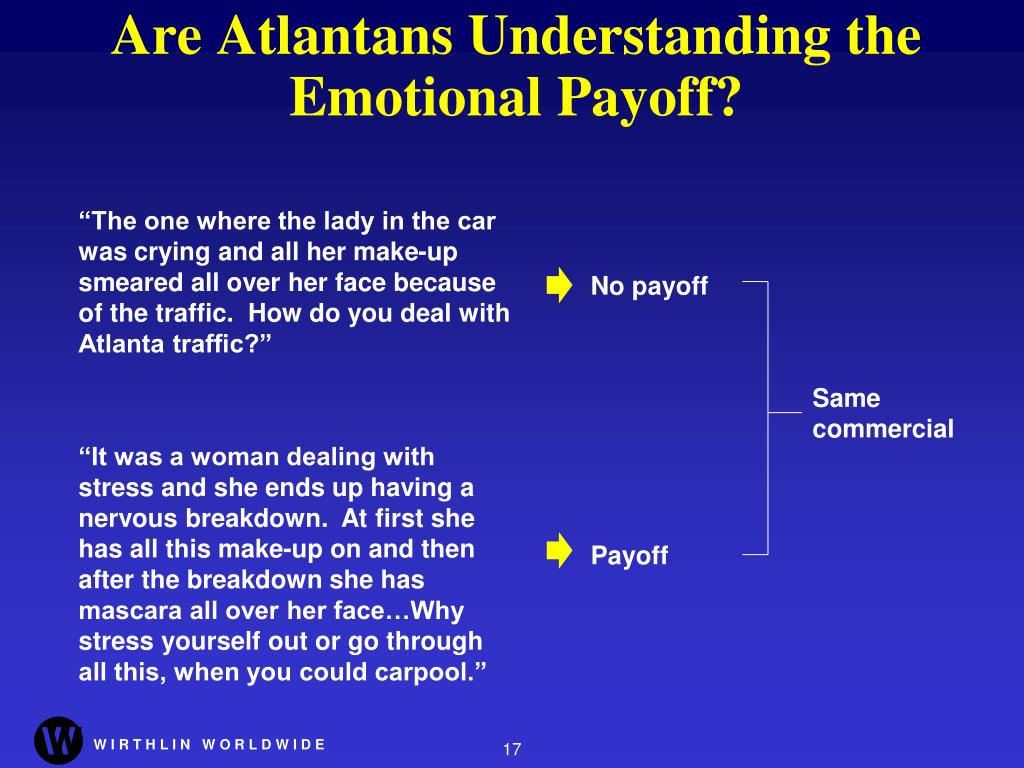 Are Atlantans Understanding the Emotional Payoff?