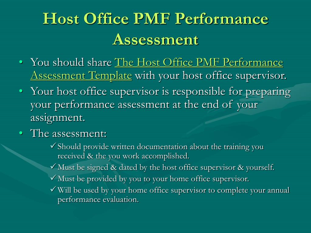 Host Office PMF Performance Assessment