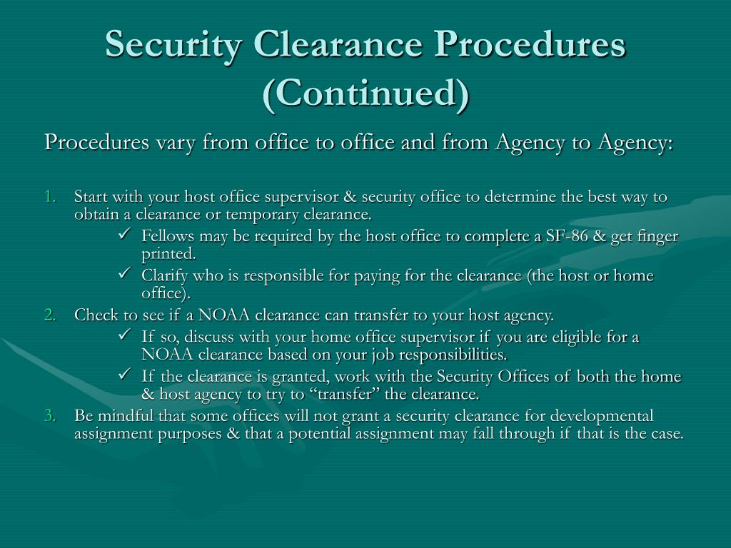 Security Clearance Procedures