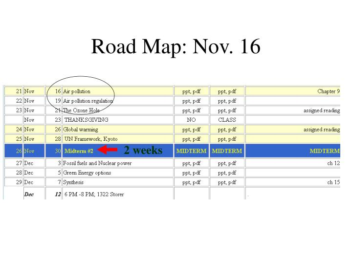 Road map nov 16