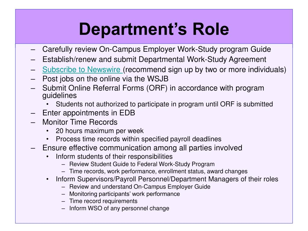 Department's Role