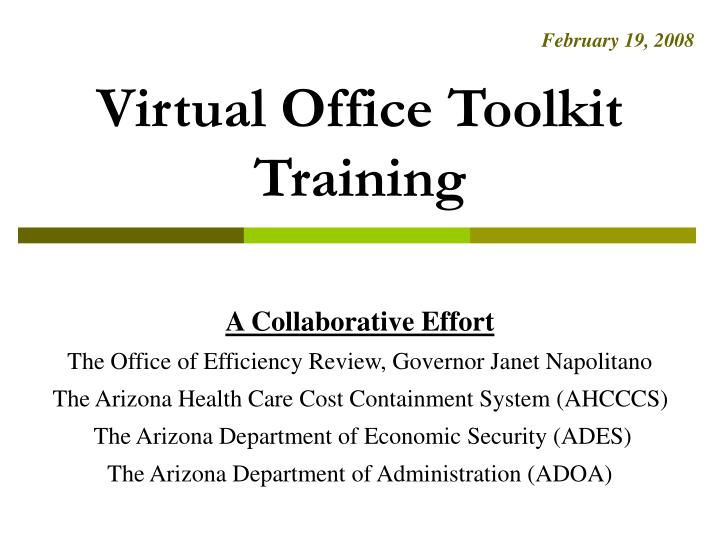 Virtual office toolkit training
