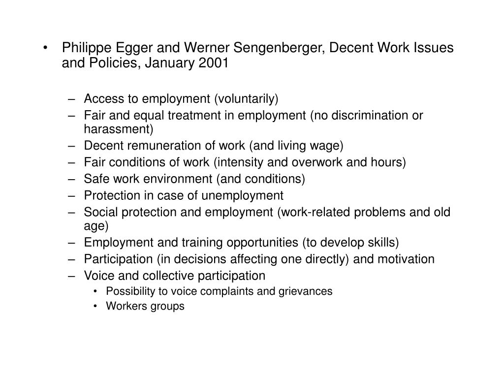 Philippe Egger and Werner Sengenberger, Decent Work Issues and Policies, January 2001