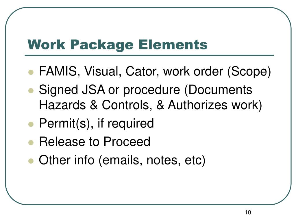 Work Package Elements