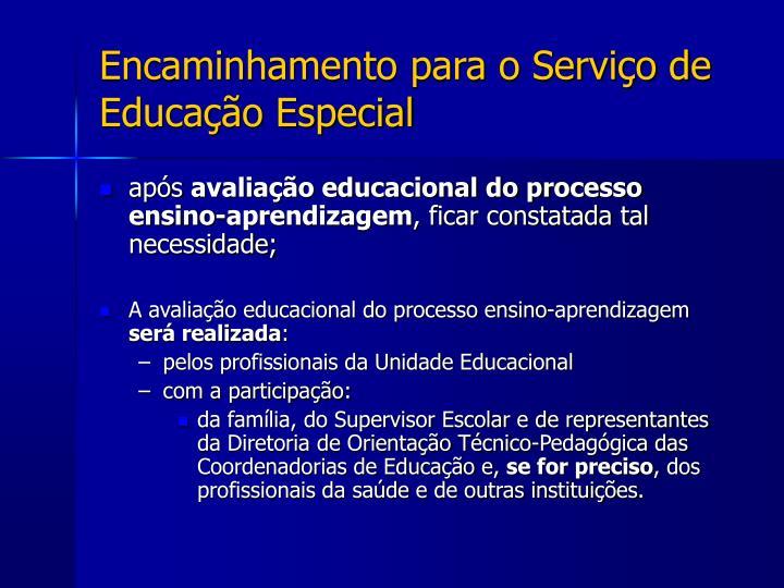 Encaminhamento para o Serviço de Educação Especial