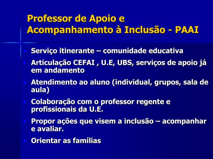Professor de Apoio e Acompanhamento à Inclusão - PAAI