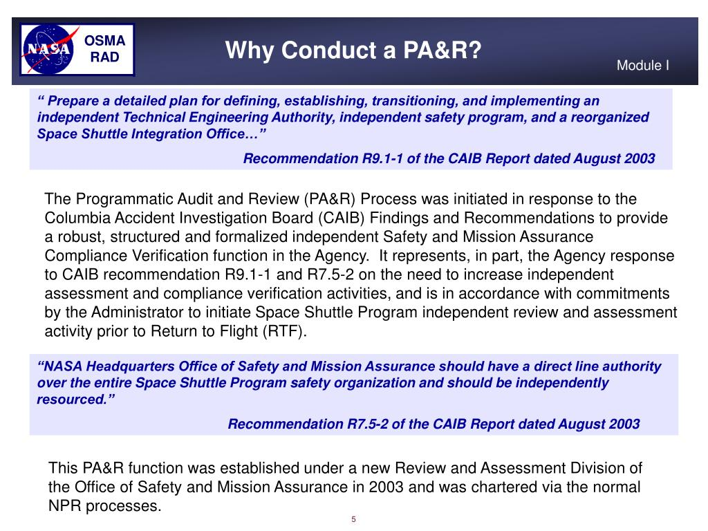 Why Conduct a PA&R?