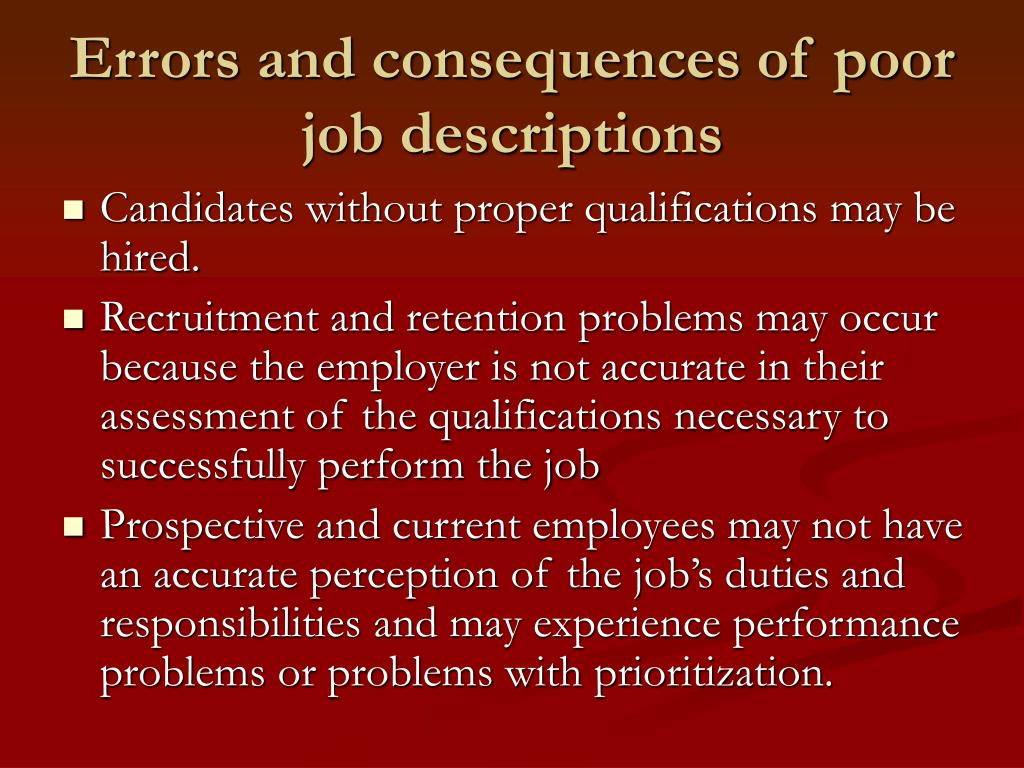 Errors and consequences of poor job descriptions