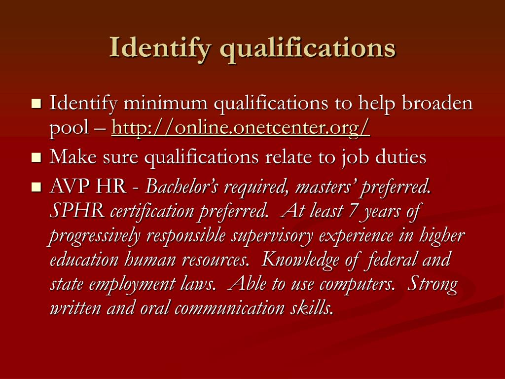 Identify qualifications
