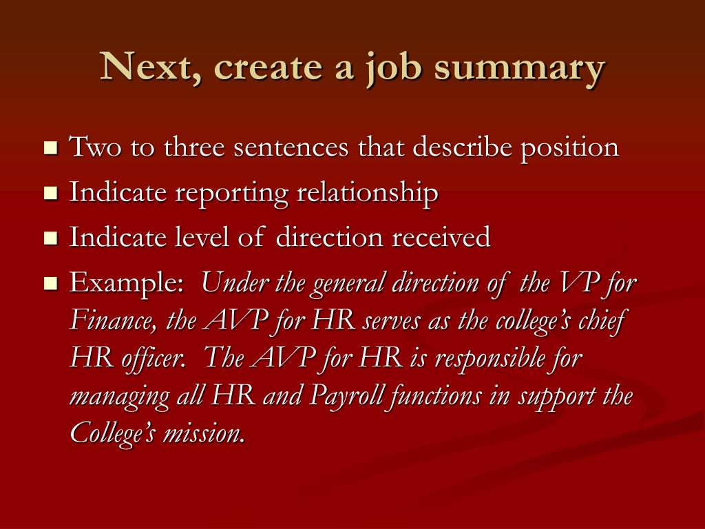 Next, create a job summary