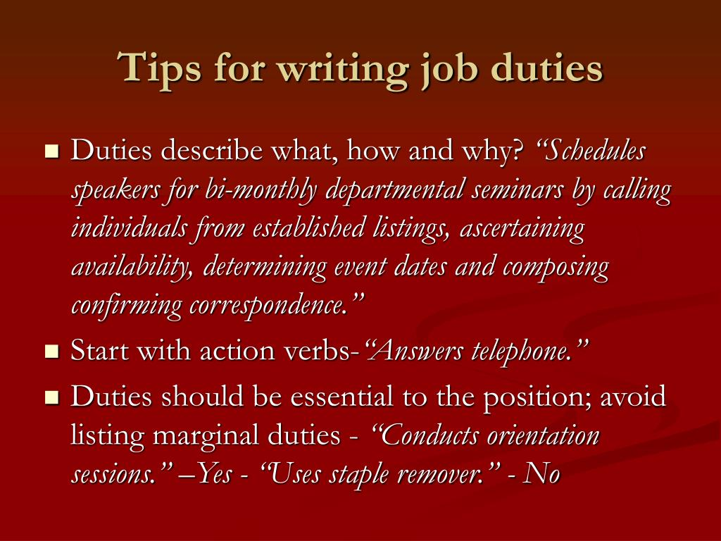 Tips for writing job duties